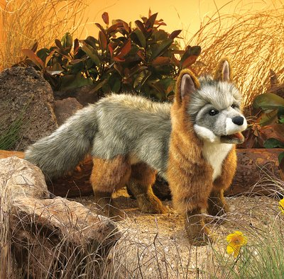 Folkmanis hand puppet grey fox