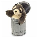 Folkmanis hand puppet raccoon in garbage can